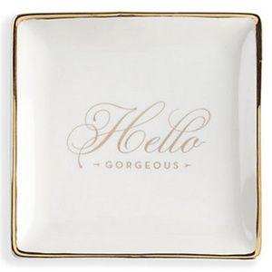 Glam Girl Fashion Storage & Organization - NWT Jewelry Tray - White Ceramic w/Gold Trim, 5x5